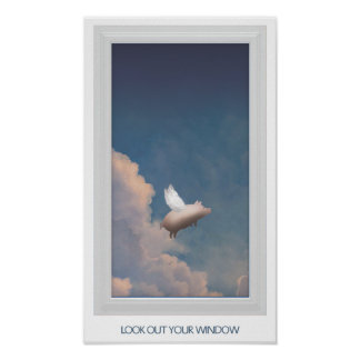 flying pig through window poster