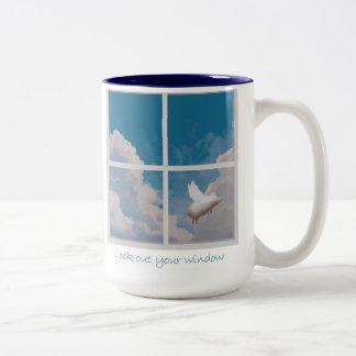 flying pig Two-Tone coffee mug