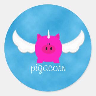 Flying Pigacorn Classic Round Sticker