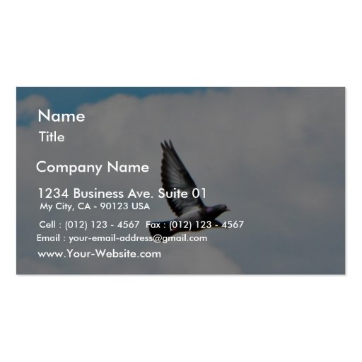 Flying Pigeon On Sky Business Card Templates
