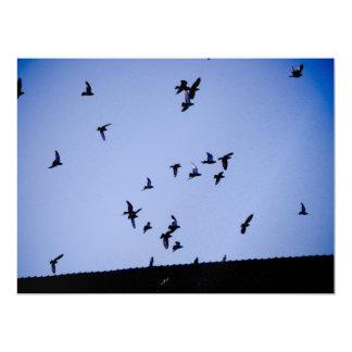 "Flying pigeons 6.5"" x 8.75"" invitation card"
