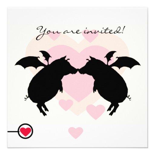 Flying piggies invitations