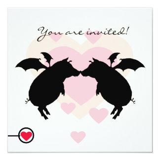 Flying piggies 5.25x5.25 square paper invitation card