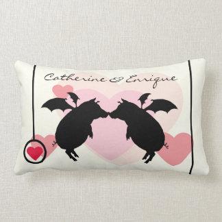 Flying piggies lumbar pillow