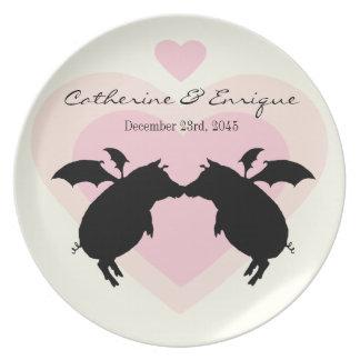 Flying piggies melamine plate