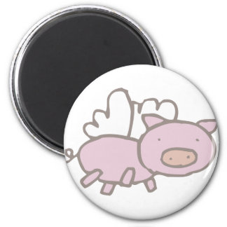 Flying Piggy 2 Inch Round Magnet