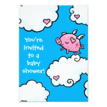 Flying Piggy Baby Shower invite