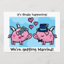 Flying Piggy Bride and Groom wedding invite