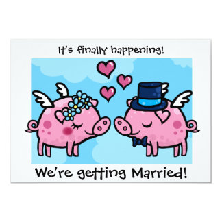 Flying Piggy Bride and Groom wedding invite