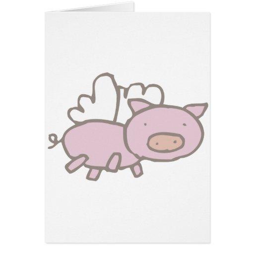 Flying Piggy Greeting Card