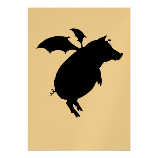 Flying piggy personalized invite