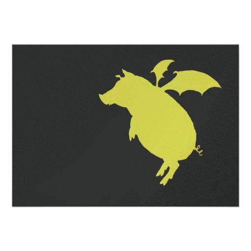 Flying piggy invite