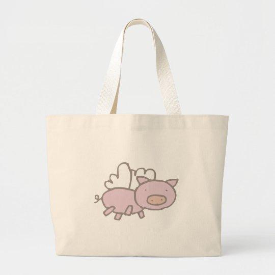 Flying Piggy Large Tote Bag
