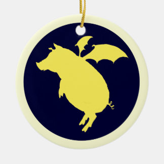 Flying piggy Double-Sided ceramic round christmas ornament
