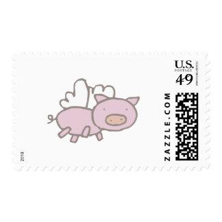 Flying Piggy Postage Stamp