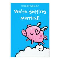 Flying Piggy wedding invite