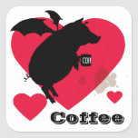 Flying piggy with coffee square sticker