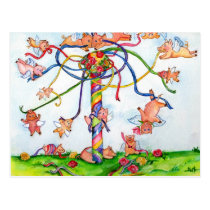Flying Pigs Around Maypole Postcard