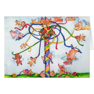 Flying Pigs Around the Maypole Greeting Card