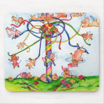 Flying Pigs Around the Maypole Mouse Pad