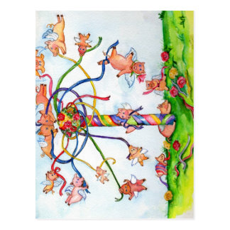 Flying Pigs Around the Maypole Postcard