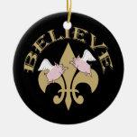 Flying Pigs Believe Black Gold Fleur de Lis Ceramic Ornament