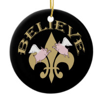 Flying Pigs Believe Black Gold Fleur de Lis Ceramic Ornament