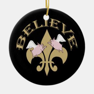 Flying Pigs Believe Black Gold Fleur de Lis Double-Sided Ceramic Round Christmas Ornament