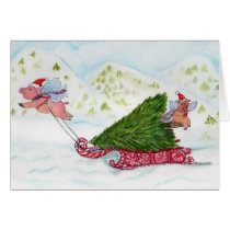 Flying Pigs Bringing Home the Christmas Tree Card