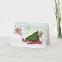 Flying Pigs Bringing Home the Christmas Tree Holiday Card