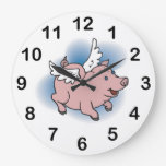 Flying Pigs Clock - Cute Pink Pig with Wings!