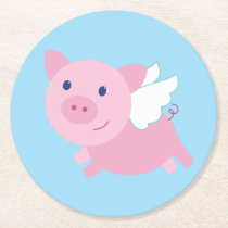 Flying Pigs Cute 1st Birthday Party Coasters