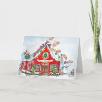 Flying Pigs Decorate Home for Christmas Holiday Card