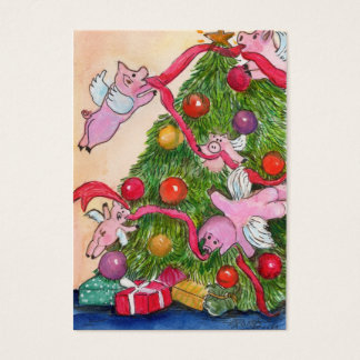 Flying Pigs Decorate the Christmas Tree Gift Tags