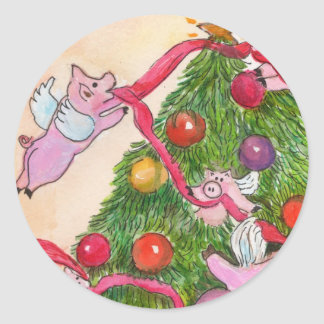 Flying Pigs Decorate the Christmas Tree Stickers