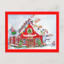 Flying Pigs Decorate the House for Christmas Postc Holiday Postcard