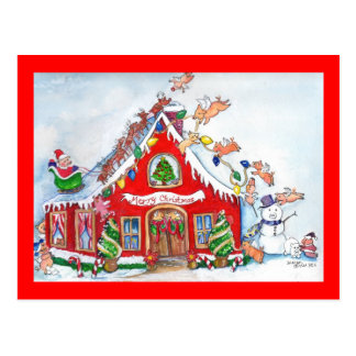 Flying Pigs Decorate the House for Christmas Postc Postcards