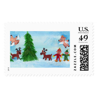 Flying Pigs Find the Perfect Christmas TreePostage Postage Stamp