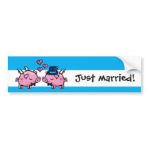 Flying pigs grooms just married gay marriage bumper sticker