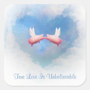 True loves kiss stickers zazzle flying pigs kiss true love is unbelievable sticker thecheapjerseys Gallery