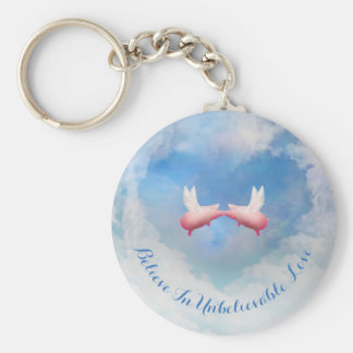 Flying Pigs Kissing-Believe In Unbelievable Love Keychain