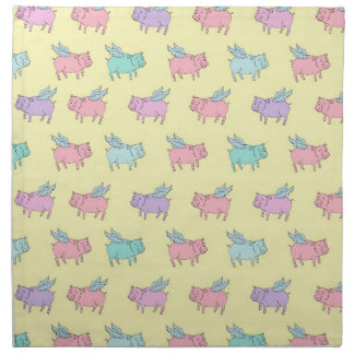 Flying pigs - pastel yellow cloth napkin