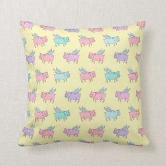 Flying pigs - pastel yellow pillows