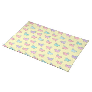 Flying pigs - pastel yellow placemat