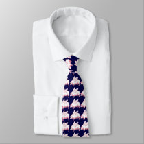 Flying Pigs Pattern On Navy Blue Neck Tie