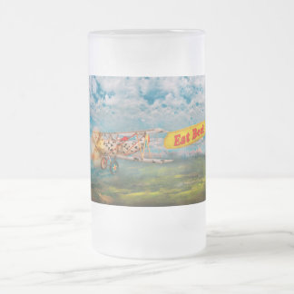 Flying Pigs - Plane - Eat Beef 16 Oz Frosted Glass Beer Mug