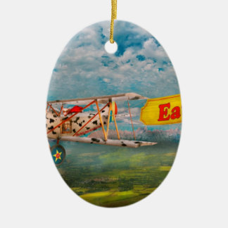 Flying Pigs - Plane - Eat Beef Christmas Ornament
