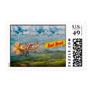 Flying Pigs - Plane - Eat Beef Postage