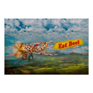 Flying Pigs - Plane - Eat Beef Posters