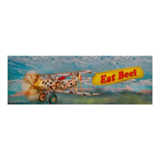 Flying Pigs - Plane - Eat Beef Poster